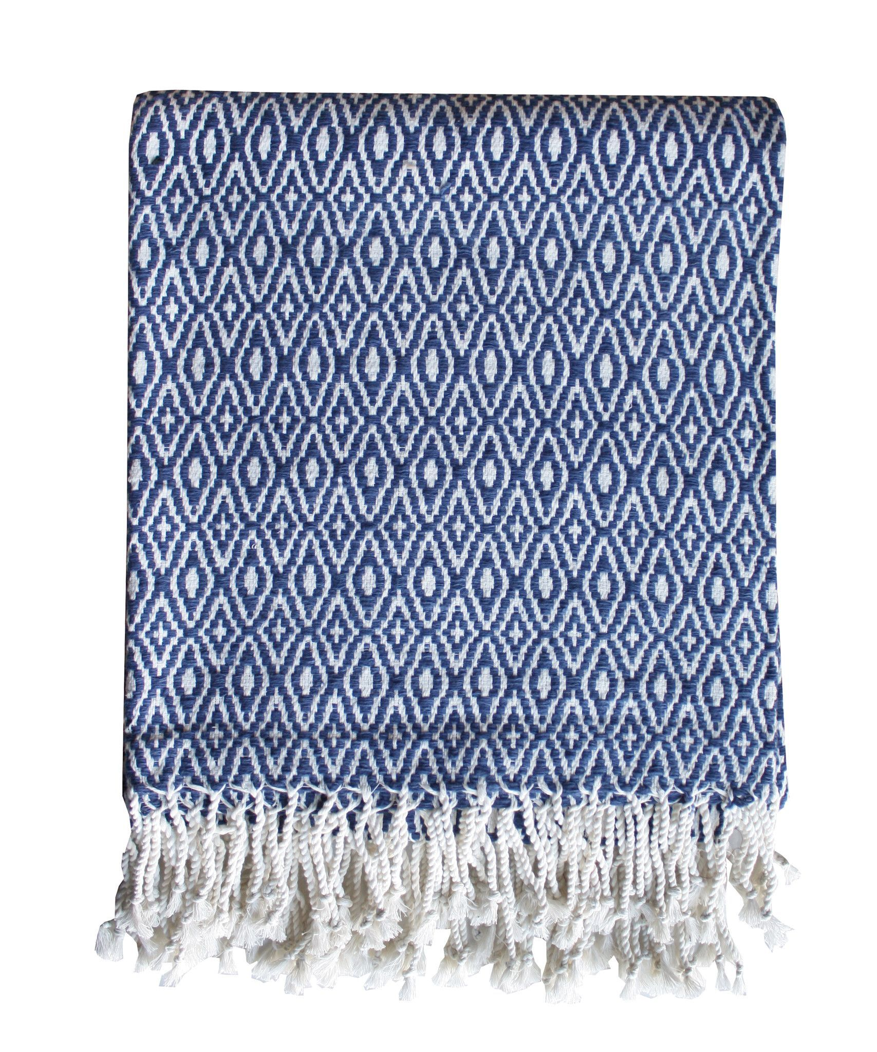 Diamond Weave Throw Blanket Navy & White 100% cotton diamond