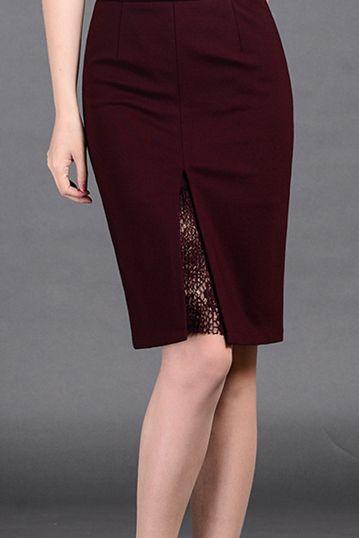 9f84df457d  59.99 Burgundy Slit Pencil Skirt Faldas Ejecutivas