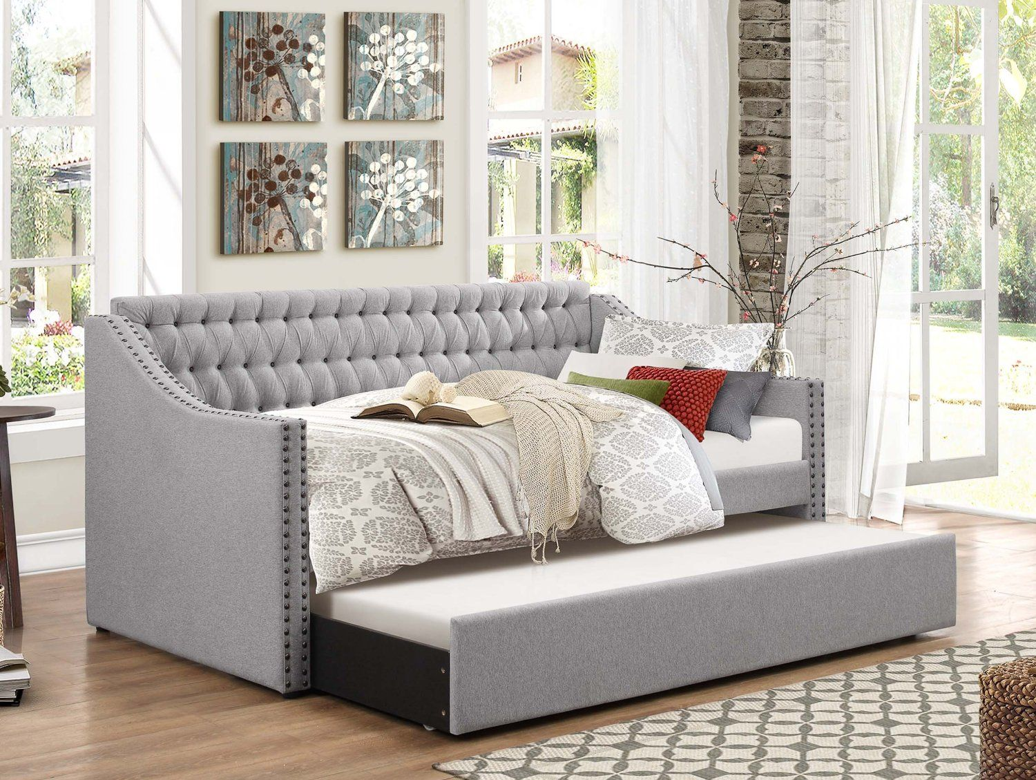 amazon com homelegance sleigh daybed with tufted back rest and nail