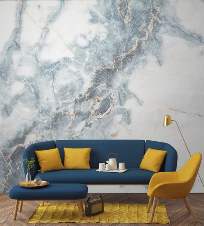 living room in blue%0A interior painting  marble colored grey and white wallpaper  dark blue sofa  with three yellow