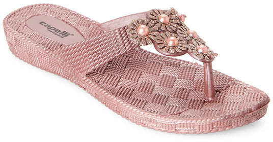 3fc20dc016 capelli new york Rose Gold Glitter Flower Wedge Flip Flop | Products ...