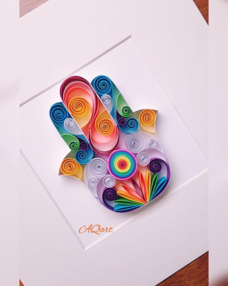 Hamsa Hand Paper Art Quilling Art Hamsa Hand Framed Etsy In 2021 Paper Quilling Designs Quilling Art Quilling Designs