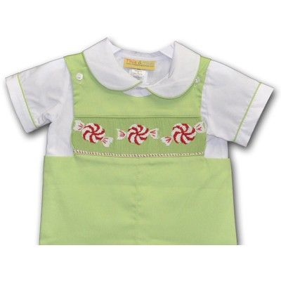 This and That For Kids - Hand Smocked Peppermint Boy's Longall with Short Sleeves Shirt, $36.00 (http://www.thisandthatforkids.com/hand-smocked-peppermint-boys-longall-with-short-sleeves-shirt/)