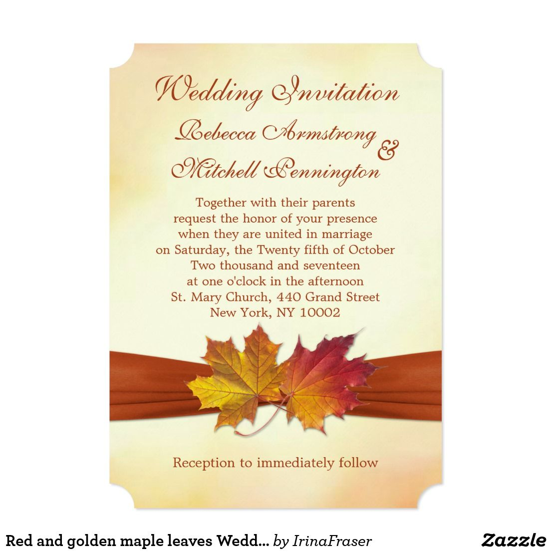 Red and golden maple leaves Wedding Invitation Red and golden ...