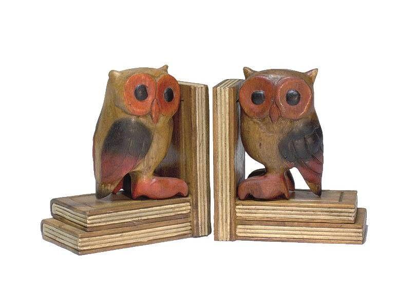 Buchstützen Paar Eule, H: 15 cm, Handgerfertigt