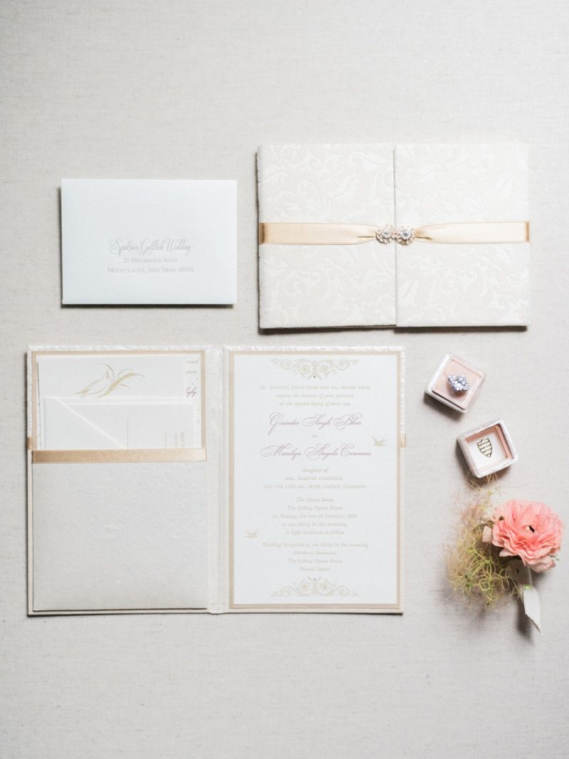address wedding invitation unmarried couple%0A Cream and Gold Invitation Suite Photography  Honey Honey Photography Read  More  http