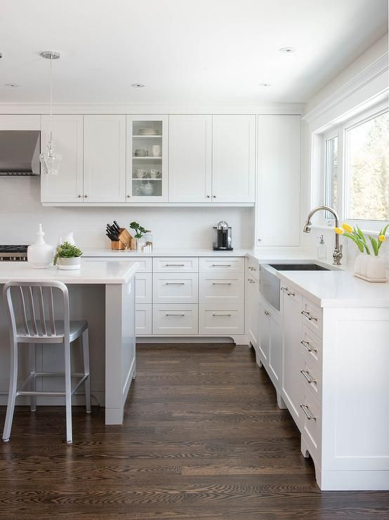 Beautiful White And Gray Kitchen Features Coffee Stained