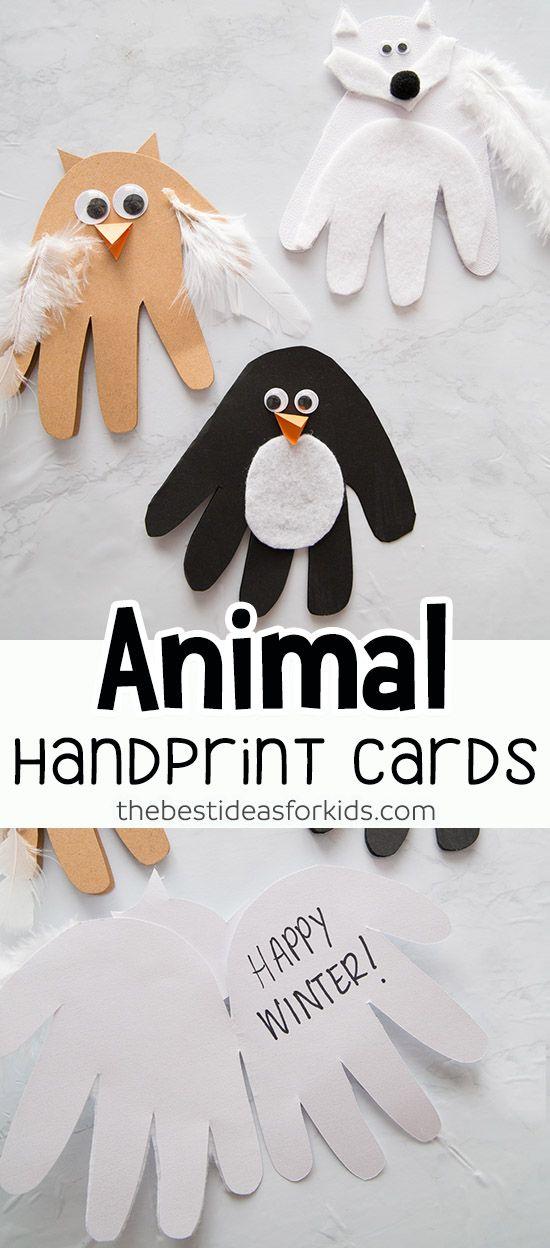 Winter Animal Handprints #animalcrafts