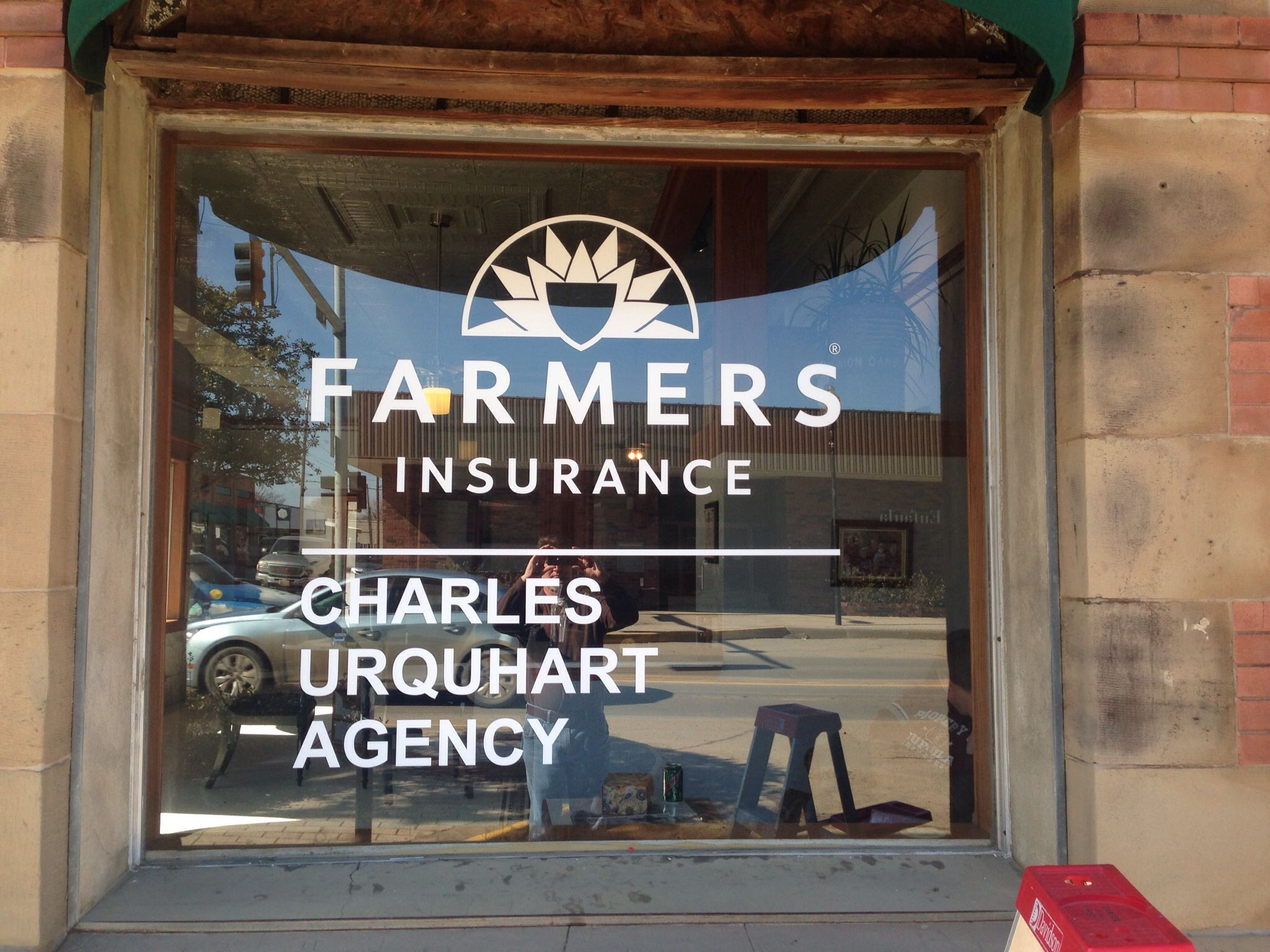 My new office window sign Farmers Insurance Group