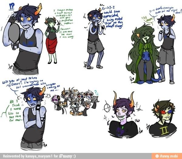 Short Haired Equius And Long Haired Nepeta Homestuck Pinterest