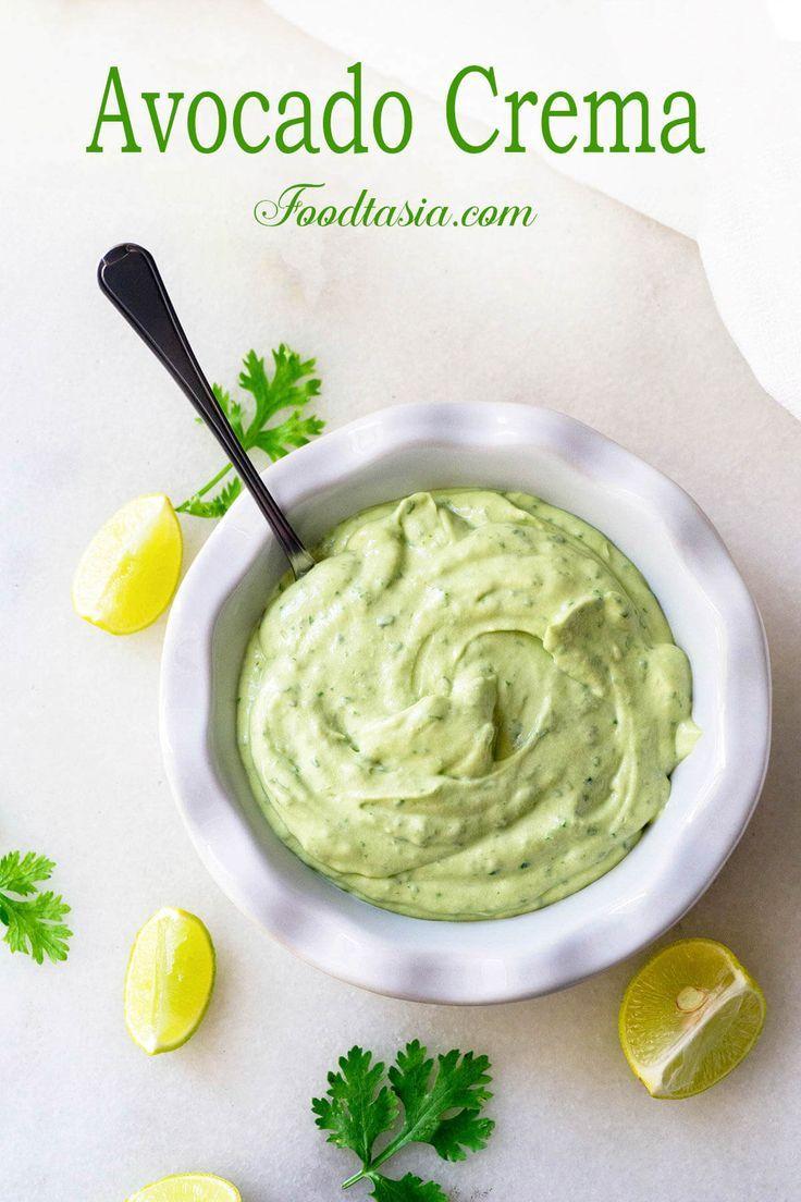 Silky Smooth Avocado Crema Recipe Avocado Crema Spicy Dishes Avocado Cream Sauces