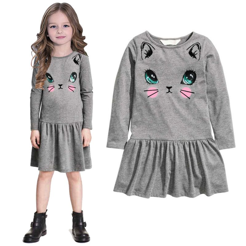 Casual girl dress new 2016 girls clothes vestidos long sleeve ...
