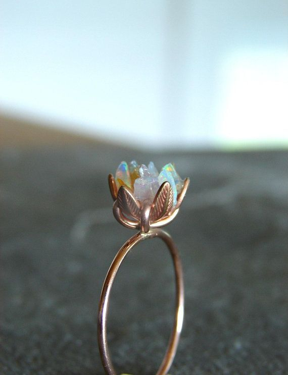 Photo of Unique Opal Ring, Custom Uncut Opal Engagement Ring, Lotus Flower Ring in Rose Gold, Raw Roug…