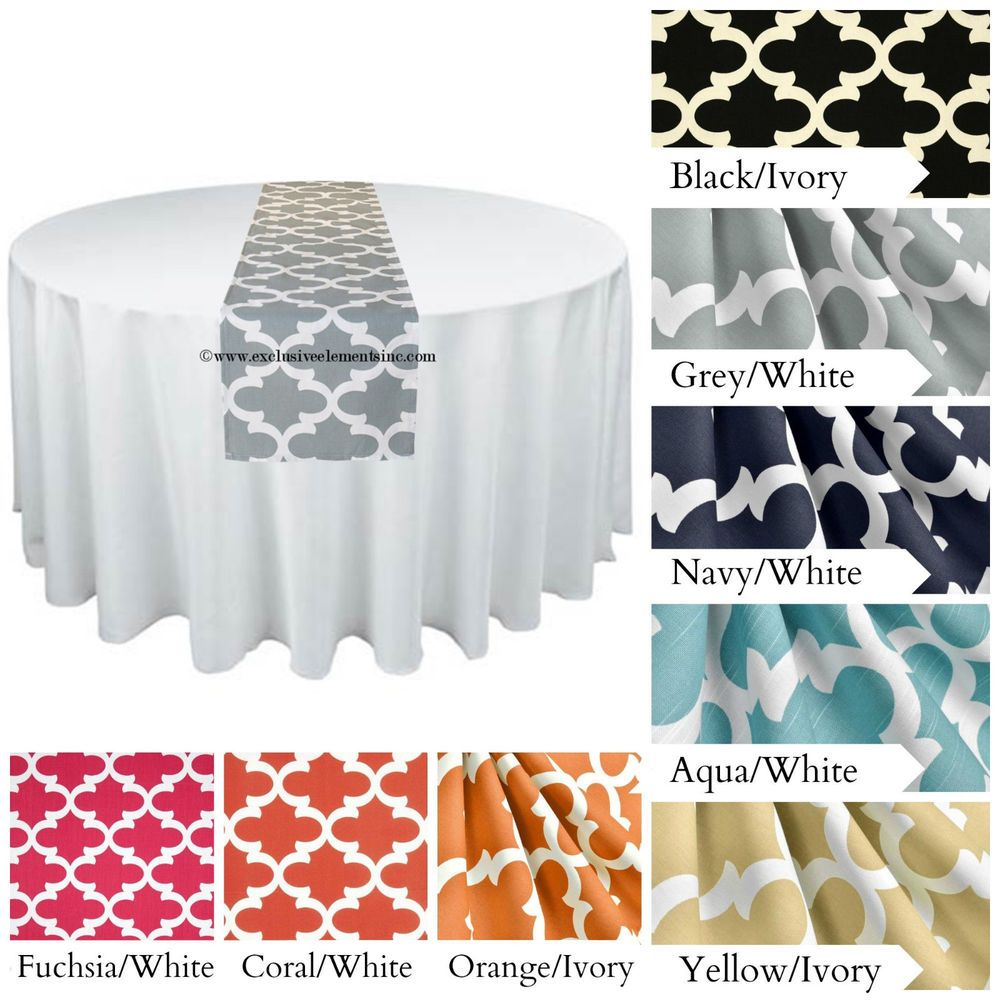 Modern Quatrefoil Table Runner Wedding Decor Centerpiece Lattice Trellis