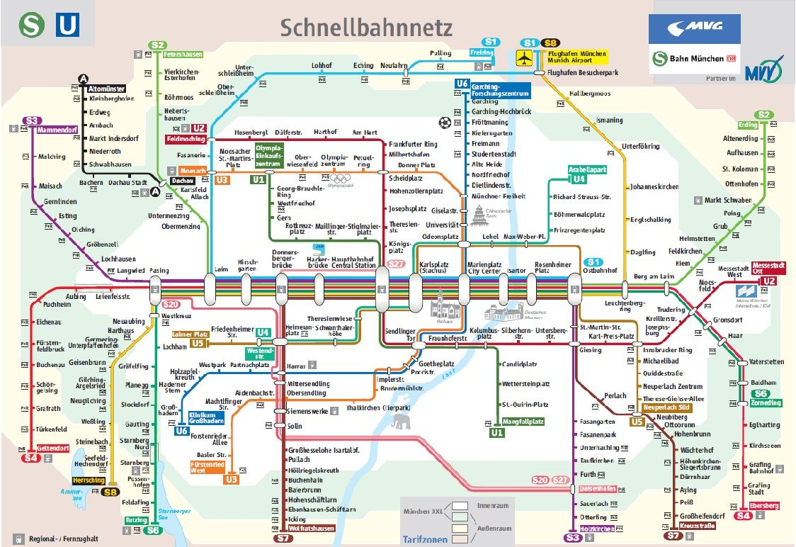 Munich subway map to get from Airport to train station for trip