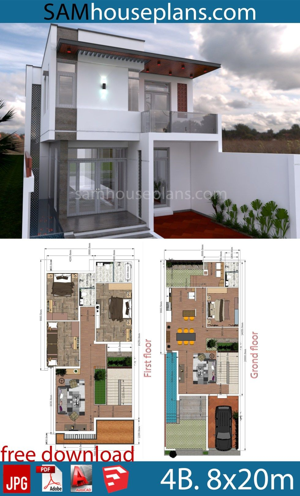 House Plans 8x20m With Full Plan 4beds Sam House Plans House Construction Plan Sims House Plans Indian House Plans