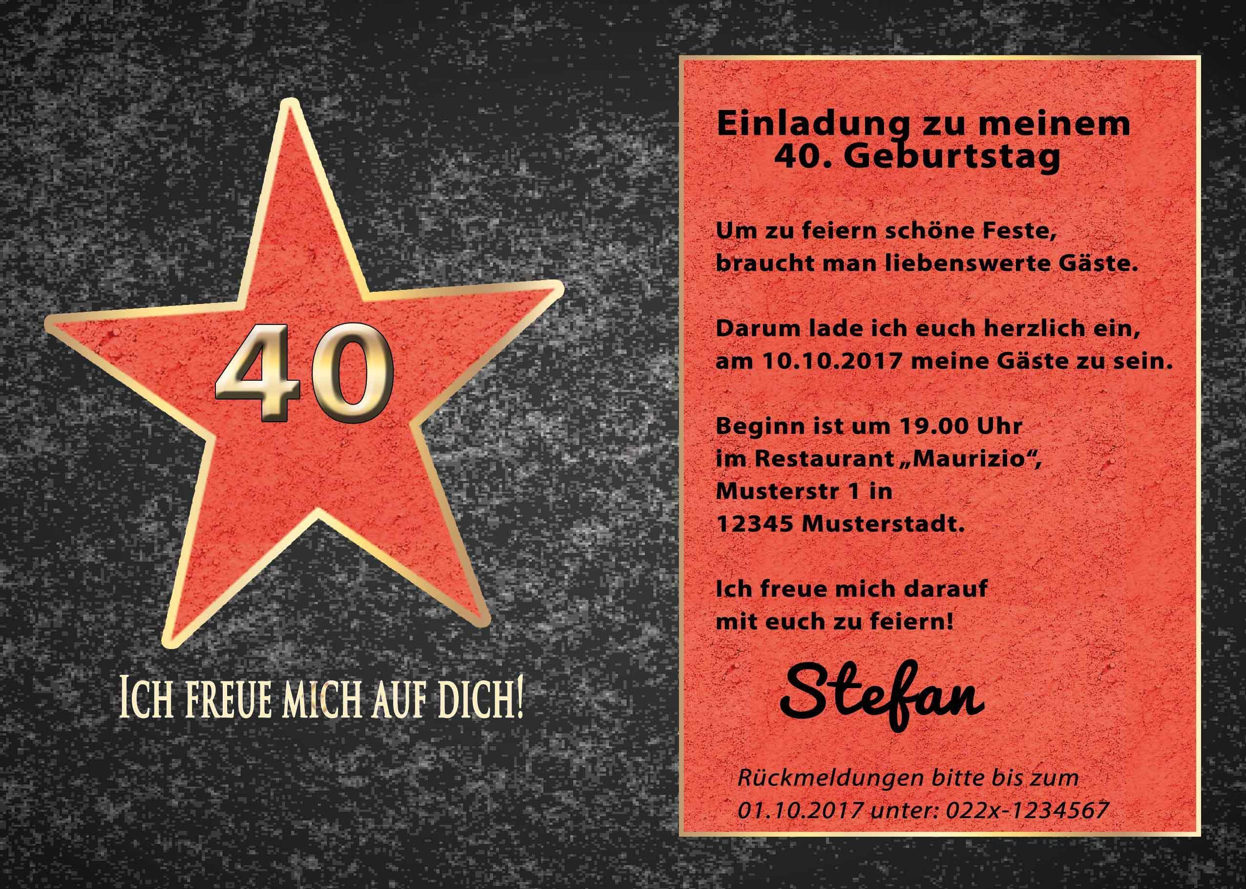 Einladungskarten 40 Geburtstag Einladung 40 Geburtstag
