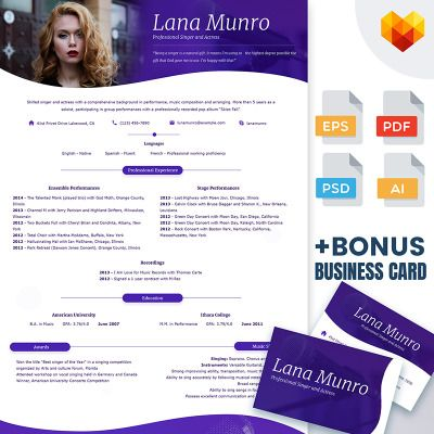 lana munro resume template for singer and actor design to draw