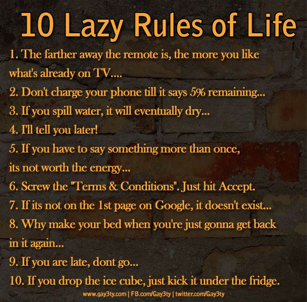 7 Rules Of Life Quote: 10 Lazy Rules Of Life