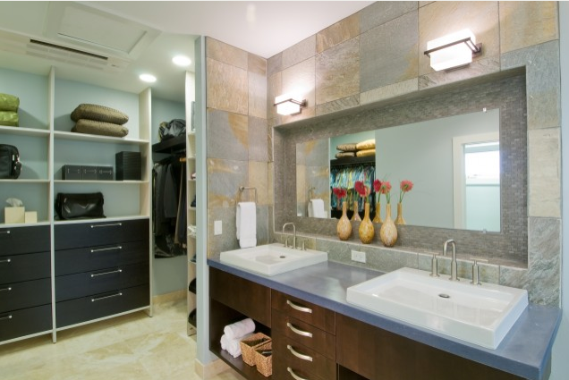 In Love With This Tile With This Inset Mirrored Shelf Area With These Black Cabinets On The L Bathroom Vanity Designs Bathroom Closet Designs Bathroom Design