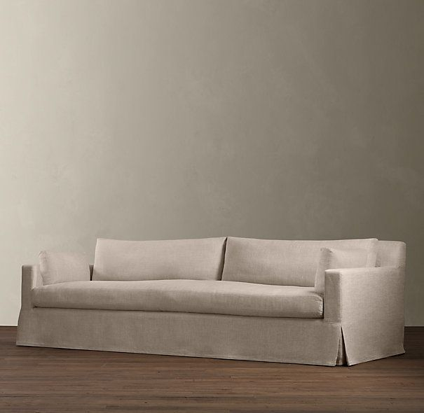 Perfect Amazing Restoration Hardware Linen Couch 7 Belgian Track Arm Slipcovered  Sofa 2 Of These Sofas Facing In Home Interior Design Reference