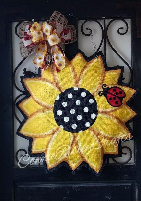 Photo Sunflower with Ladybug Burlap Door Hanger Door Decoration Style Your individual door hanger Sure the classic is of course the door pendant in which on leading Wonde...