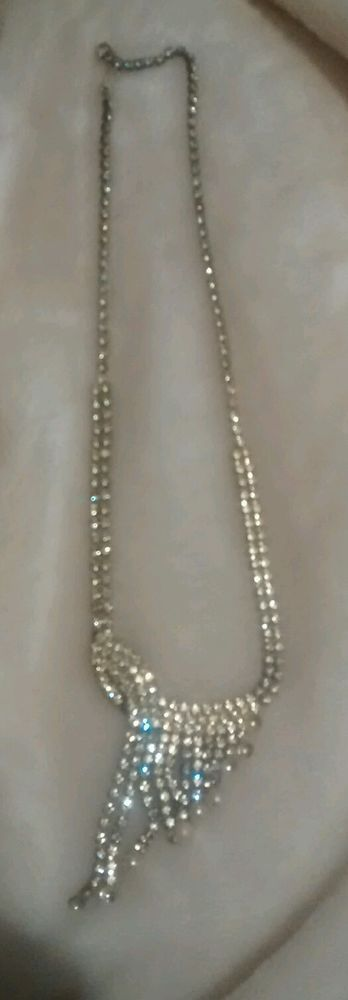 """Vintage diamond and pearl style 9"""" long necklace some pearl stones missing #80"""