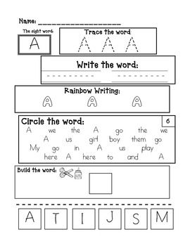 Common Worksheets » Sight Words For Preschoolers Worksheets ...
