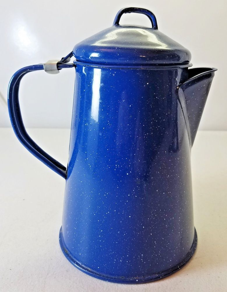 Camping Enamelware Small Coffee Pot Blue And White Speckled Design