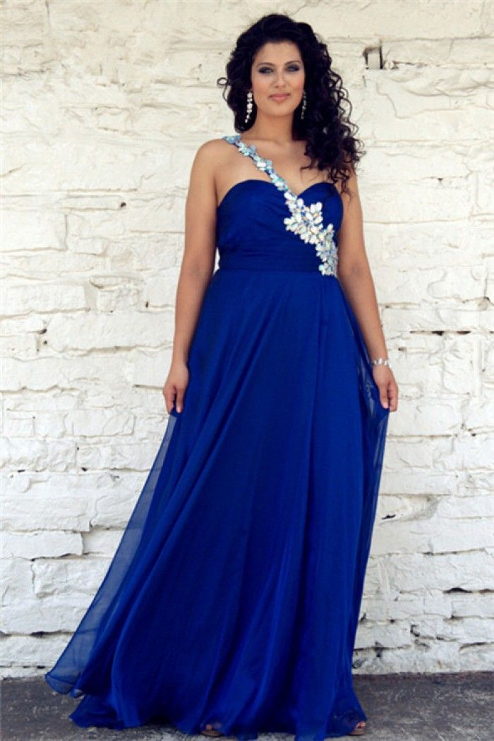 Trendy One Shoulder Long Royal Blue Chiffon Beaded Plus Size Formal ...