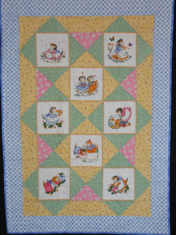 Vintage Kitty Cucumber Baby Quilt Baby Quilt Panels
