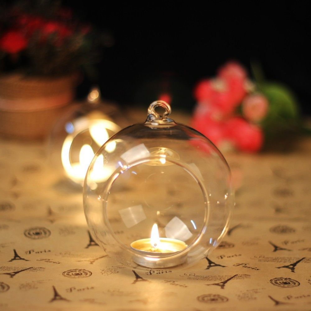 Hanging Crystal Clear Glass Candle Holder + Galss Holder Wedding Decoration Candlestick Dinner Valentine Party Home Decor