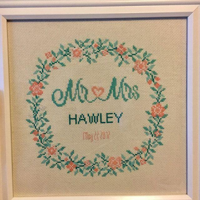 modern wedding cross stitch pattern, flowers pattern, Personalized ...
