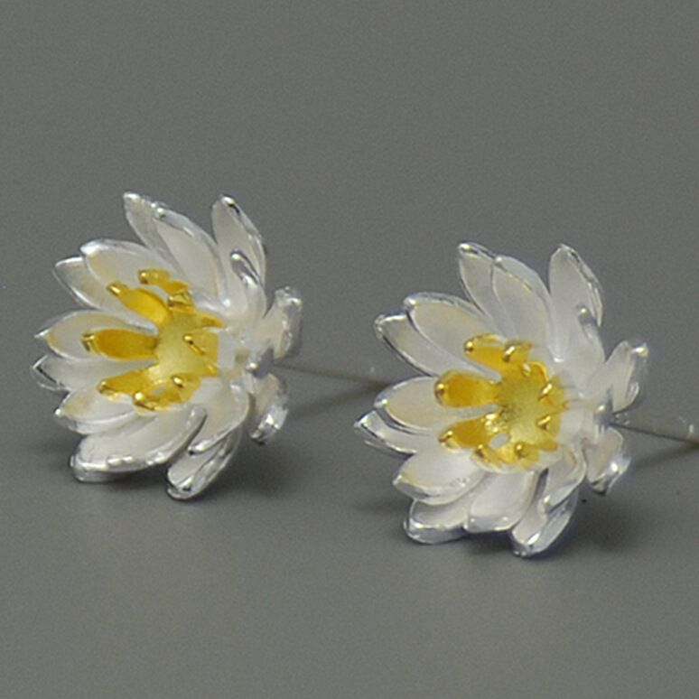 Nueva Encanto 925 Lotus Flower Pendientes para Las Mujeres Pendientes Plata de La Venta Caliente 925 Declaración de La Joyería Regalo de Las Muchachas