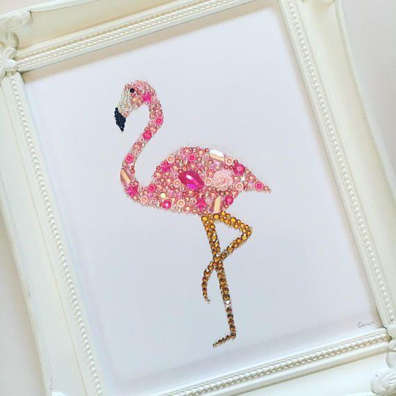 Flamingo Swarovski crystal button frame pink flamingoes tropical ...
