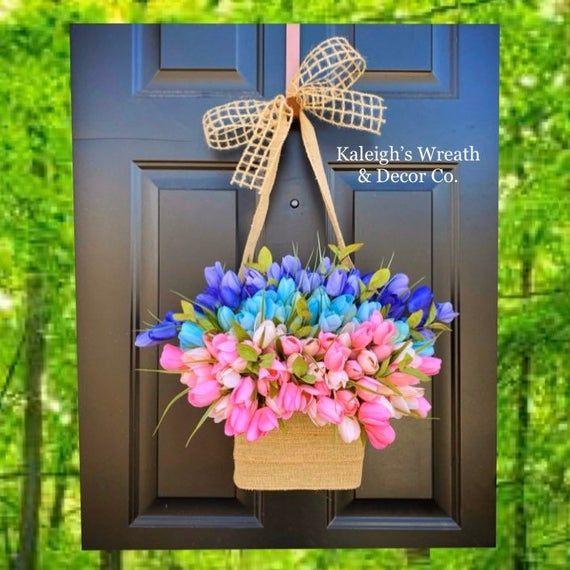 Photo of Tulip Wreath, Wreath for Front Door, Spring Wreaths, Easter Tulip Wreath, Spring Home Decor, Farmhouse Wreath, Burlap Wreath, Tulips, Flower