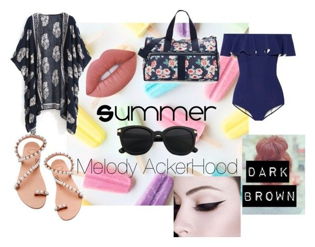 """Summer: Melody AckerHood"" by the-baguette on Polyvore featuring beauty, Lisa Marie Fernandez, Elina Linardaki, LeSportsac and Lime Crime"