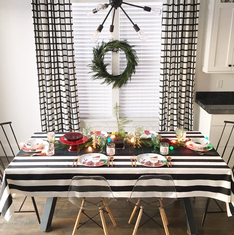 Black And White Striped Tablecloth Holiday Tablecloth Wedding Table Linen Black White Tablecloth Holiday Linens Christmas Tablecloth With Images Christmas Table Cloth White Table Cloth Wedding Table Linens
