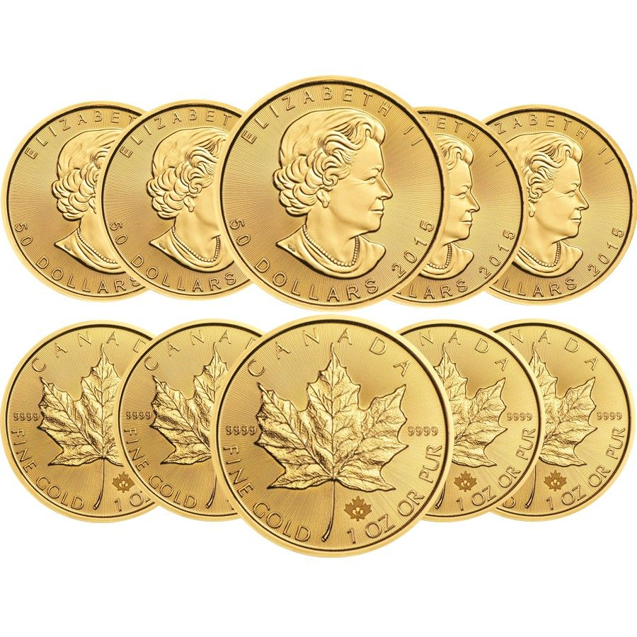 Lot Of 10 2015 1 Oz Canadian Gold Maple Leaf 50 9999 Fine Gold Gold Bullion Coins Gold And Silver Coins Maple Leaf Gold