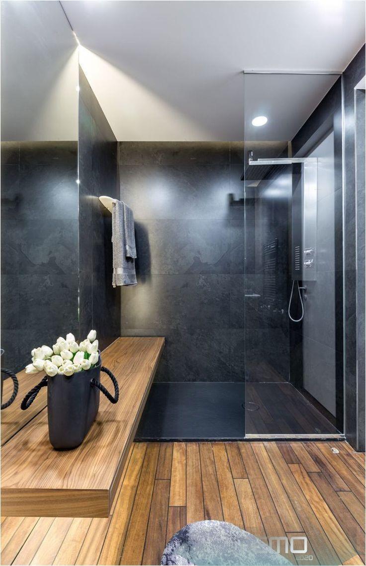 04 12 2019 Graue Einrichtung Badezimmer Modern Holz Dusche Glaswand Innendesign Design I B In 2020 Modern Bathroom Bathroom Design Bathroom Interior Design