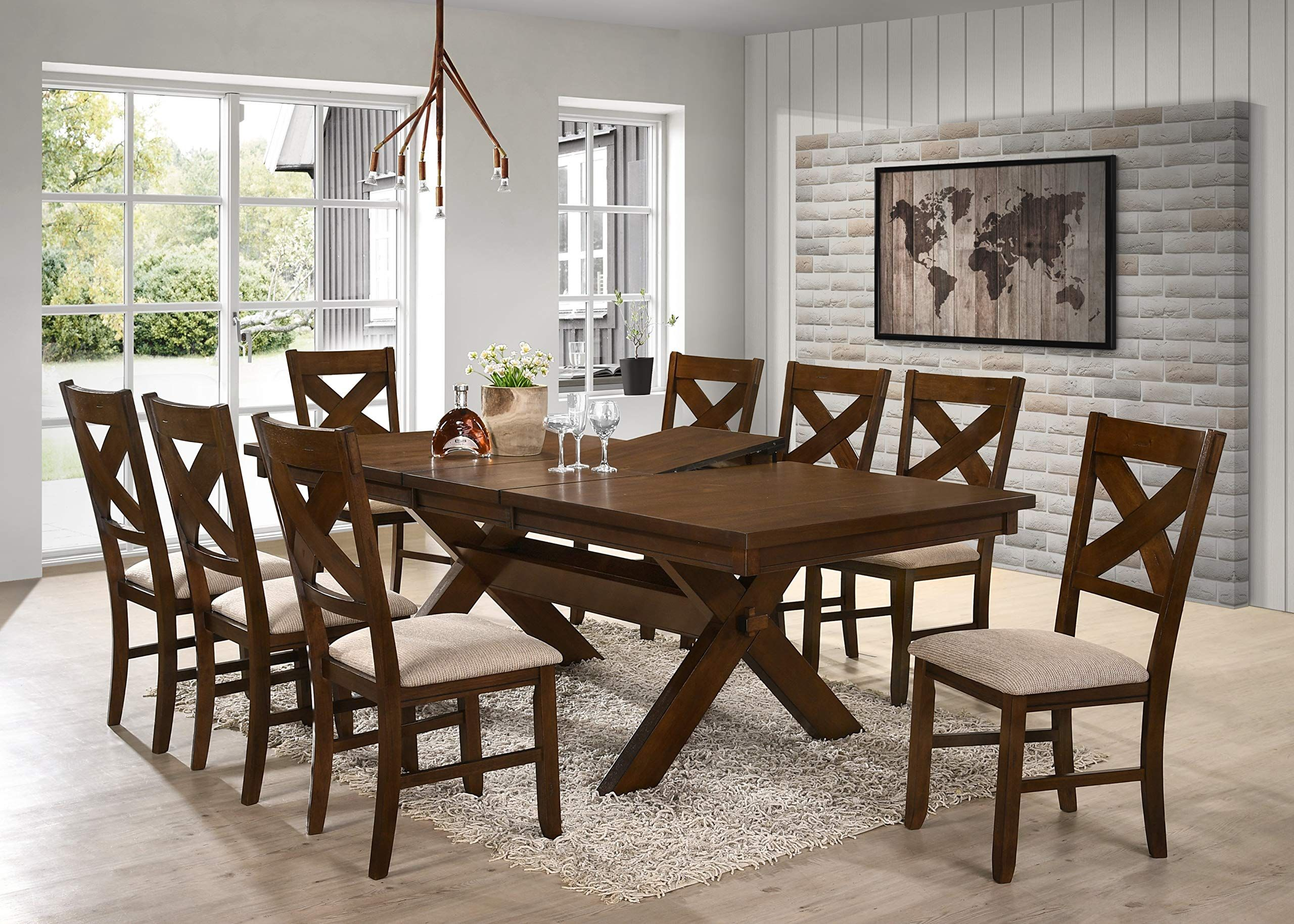 Roundhill Furniture Karven 9 Piece Solid Wood Dining Set With Table And 8 Chairs To Solid Wood Dining Set Dining Room Table Set Farmhouse Dining Room Table