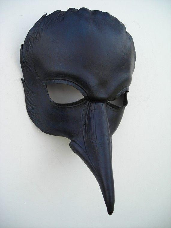 Raven mask/original handmade leather mask Halloween masquerade mardi gras Ste&unk pagan Samhain burning man mask & Raven mask/original handmade leather mask Halloween masquerade mardi ...