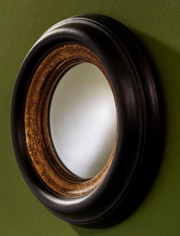 Casa Padrino Luxus Konvex Spiegel Schwarz / Gold Ø 25 cm