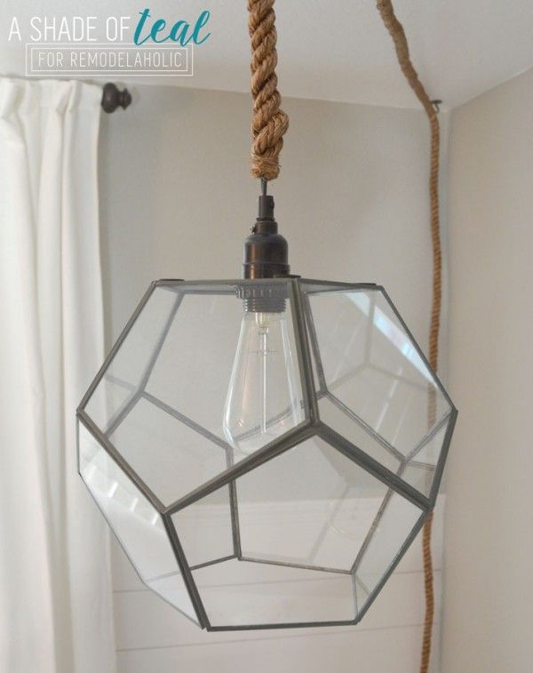 Remodelaholic Terrarium To Geometric Pendant Light Diy