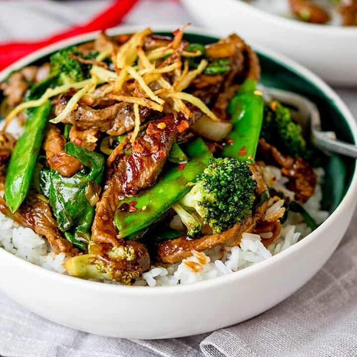 spicy ginger beef stir fry  tender beef sirloin with