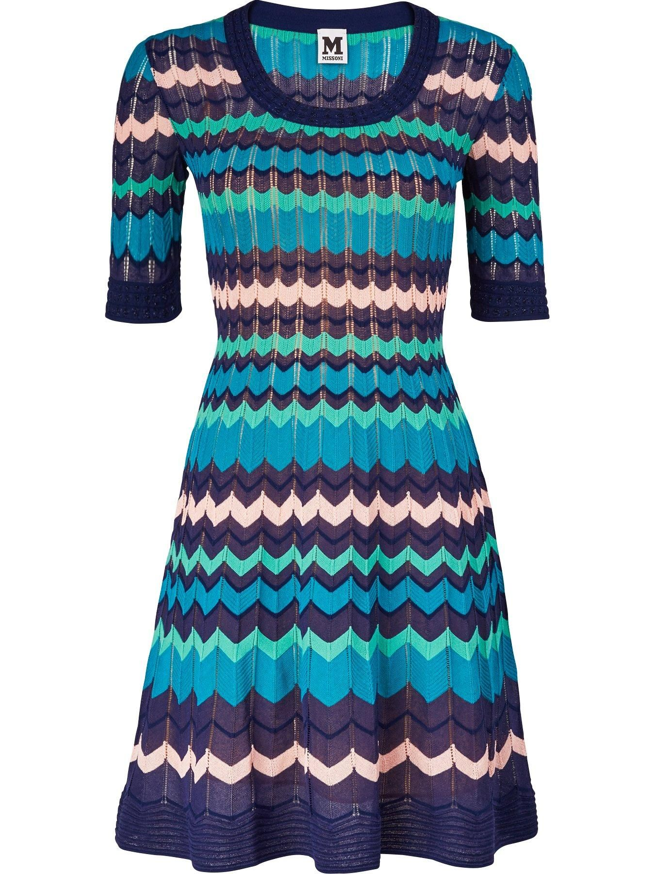 M MISSONI Knitted Zig Zag Dress Blue veryexclusive
