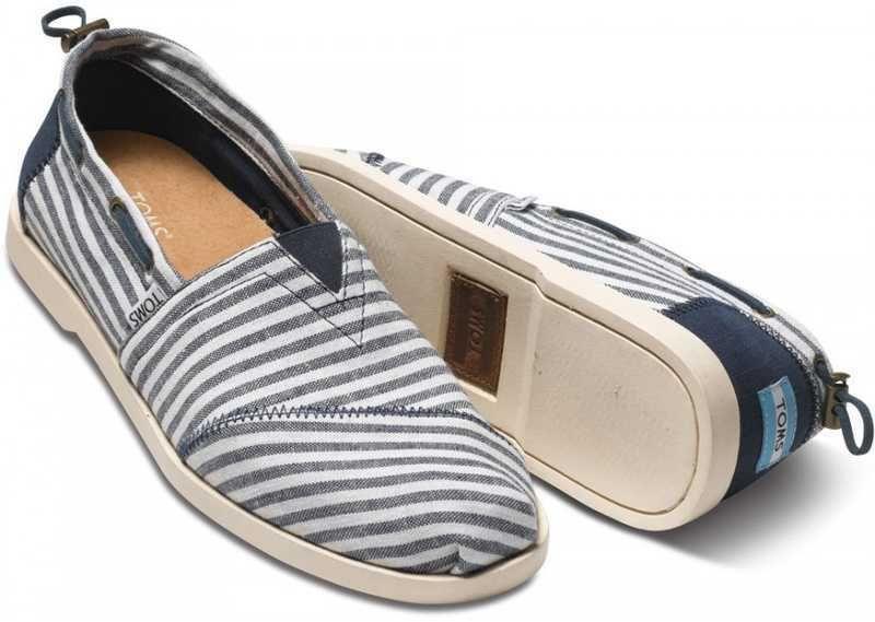 ecd5011bff8 Toms Nautical Bimini Stripe Mens Shoe Navy White BNIB UK Size 8 US Size M9