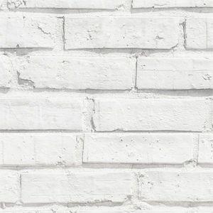 Papel de Parede Adesivo Vinil imita Tijolo Rústico Branco - Viva Decora
