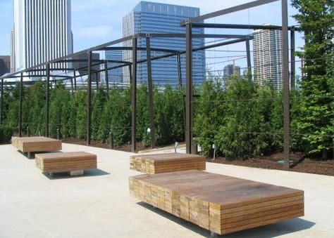 stacked 2x4s as benches lurie garden millenium park chicago landschaftsarchitektur. Black Bedroom Furniture Sets. Home Design Ideas