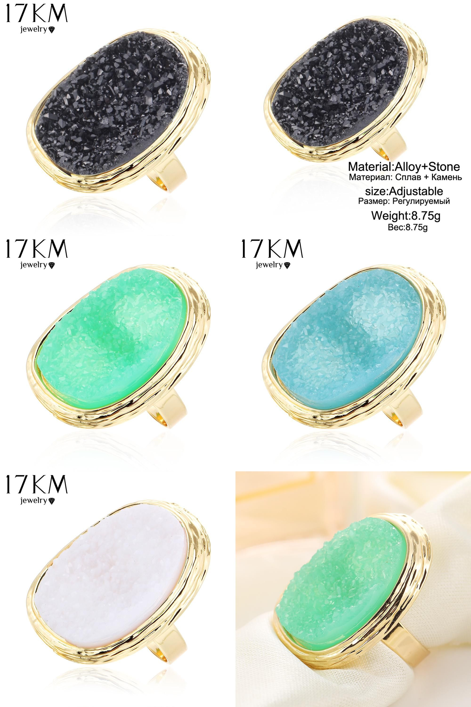 [Visit to Buy] 17KM 2017 Hot Natural Stone Rings 4 Colors Big Gold Color Adjustable Ring Midi bague Love Wedding Rings for Women Jewellery #Advertisement